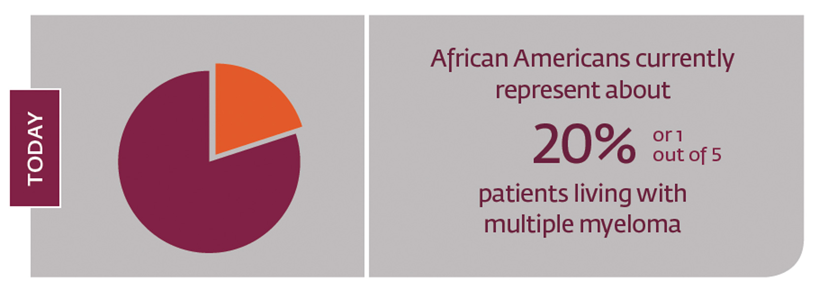African Americans currently represent about 20%, or one out of 5 patients living with multiple myeloma.